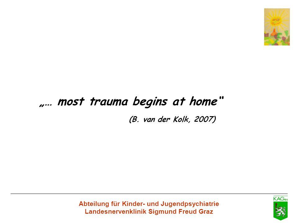 Abteilung für Kinder- und Jugendpsychiatrie Landesnervenklinik Sigmund Freud Graz … most trauma begins at home (B. van der Kolk, 2007)