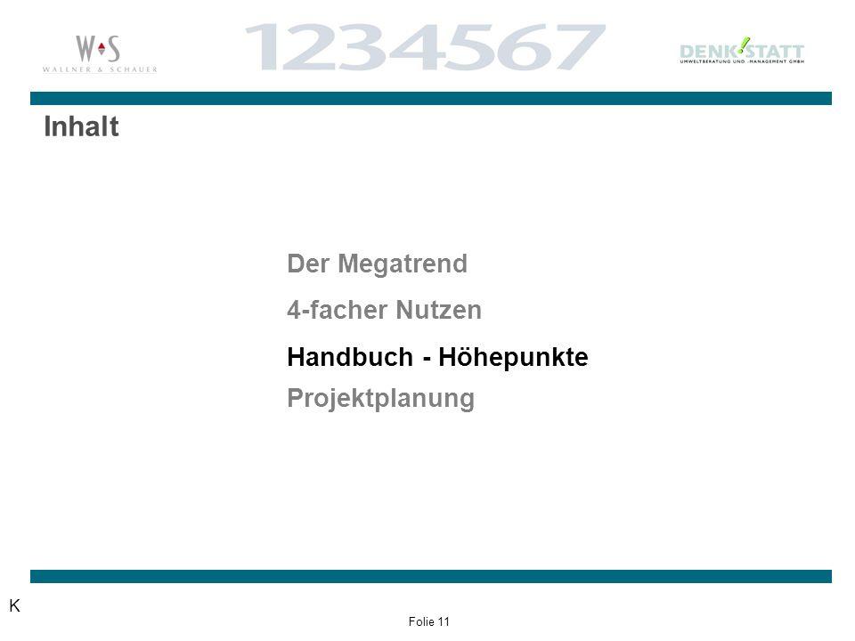 Folie 11 Inhalt Der Megatrend 4-facher Nutzen Handbuch - Höhepunkte Projektplanung K