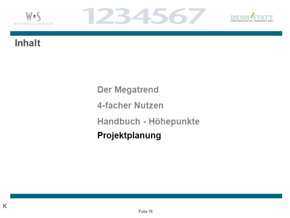 Folie 18 Inhalt K Der Megatrend 4-facher Nutzen Handbuch - Höhepunkte Projektplanung