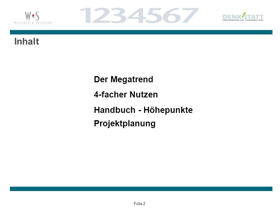 Folie 2 Inhalt Der Megatrend 4-facher Nutzen Handbuch - Höhepunkte Projektplanung
