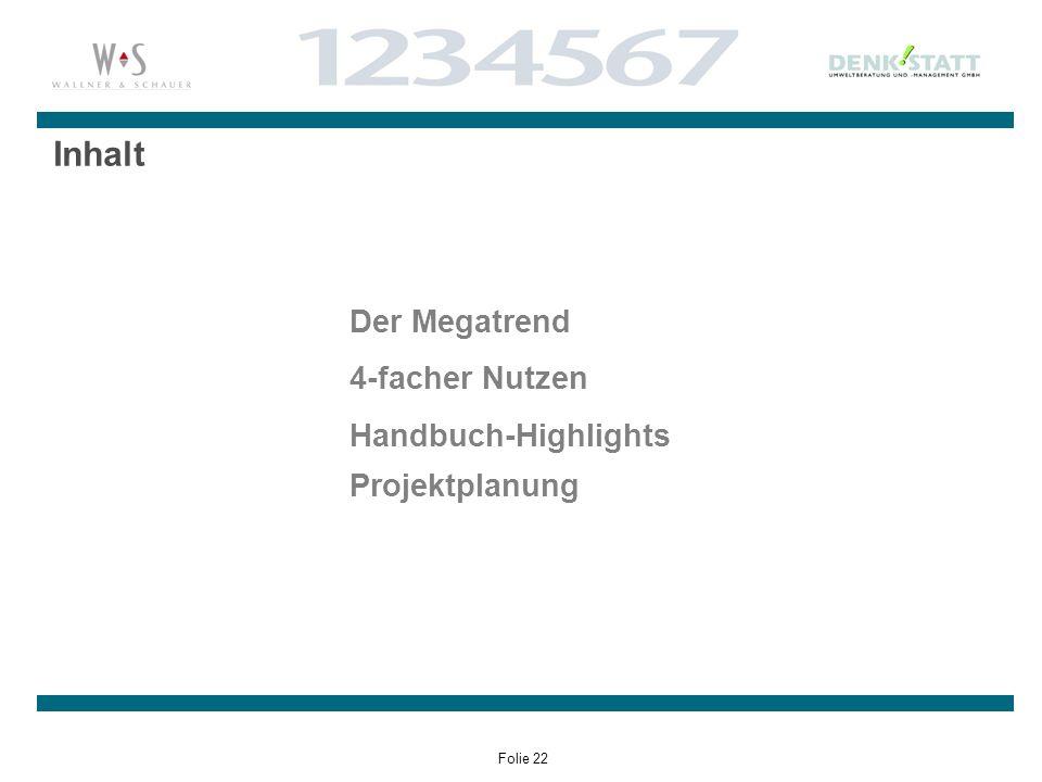 Folie 22 Inhalt Der Megatrend 4-facher Nutzen Handbuch-Highlights Projektplanung