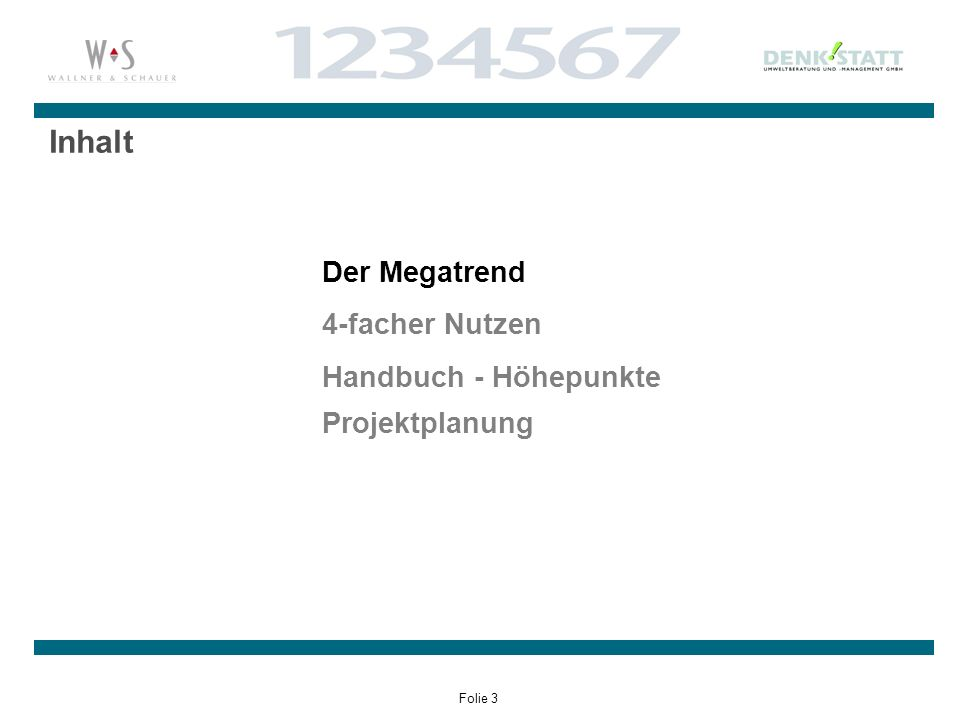 Folie 3 Inhalt Der Megatrend 4-facher Nutzen Handbuch - Höhepunkte Projektplanung