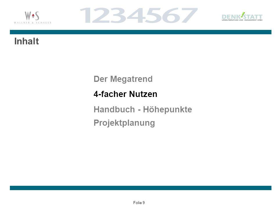 Folie 9 Inhalt Der Megatrend 4-facher Nutzen Handbuch - Höhepunkte Projektplanung
