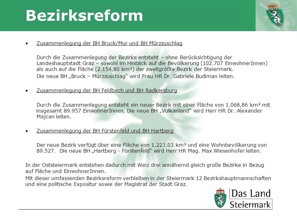 Autor Bezirksreform Zusammenlegung der BH Bruck/Mur und BH Mürzzuschlag Durch die Zusammenlegung der Bezirke entsteht – ohne Berücksichtigung der Landeshauptstadt Graz – sowohl im Hinblick auf die Bevölkerung (102.707 EinwohnerInnen) als auch auf die Fläche (2.154,80 km²) der zweitgrößte Bezirk der Steiermark.