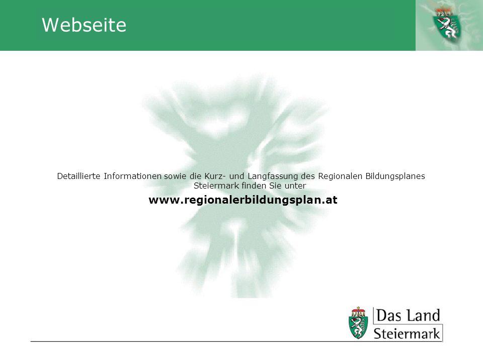 Autor Webseite Detaillierte Informationen sowie die Kurz- und Langfassung des Regionalen Bildungsplanes Steiermark finden Sie unter www.regionalerbild