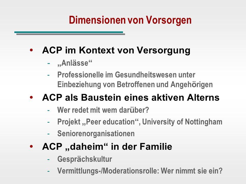 Dimensionen von Vorsorgen ACP im Kontext von Versorgung - - Anl ä sse - - Professionelle im Gesundheitswesen unter Einbeziehung von Betroffenen und An