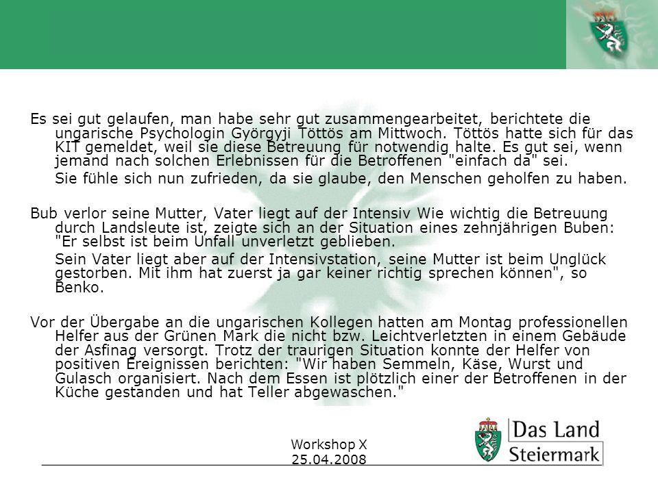 Autor Workshop X 25.04.2008 Es sei gut gelaufen, man habe sehr gut zusammengearbeitet, berichtete die ungarische Psychologin Györgyji Töttös am Mittwo
