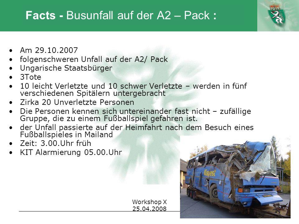 Autor Workshop X 25.04.2008 Facts - Busunfall auf der A2 – Pack : Am 29.10.2007 folgenschweren Unfall auf der A2/ Pack Ungarische Staatsbürger 3Tote 1