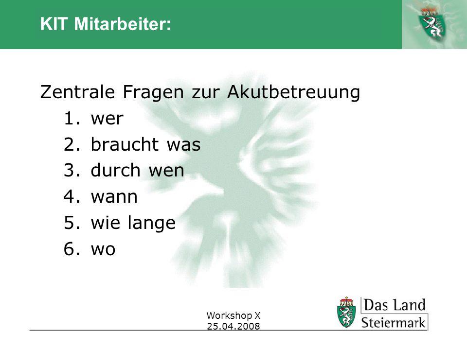 Autor Workshop X 25.04.2008 KIT Mitarbeiter: Zentrale Fragen zur Akutbetreuung 1.wer 2.braucht was 3.durch wen 4.wann 5.wie lange 6.wo