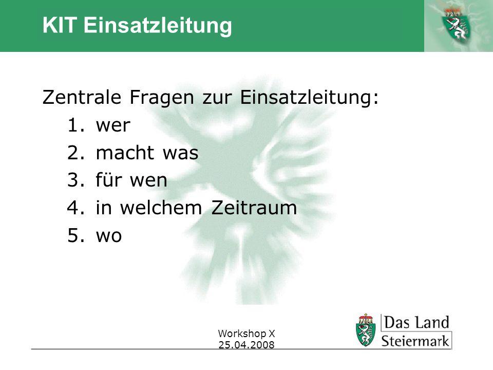 Autor Workshop X 25.04.2008 KIT Einsatzleitung Zentrale Fragen zur Einsatzleitung: 1.wer 2.macht was 3.für wen 4.in welchem Zeitraum 5.wo
