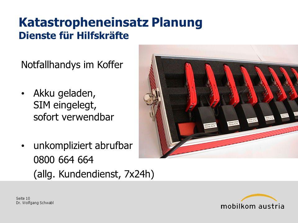 Seite 10 Dr. Wolfgang Schwabl Katastropheneinsatz Planung Dienste für Hilfskräfte Notfallhandys im Koffer Akku geladen, SIM eingelegt, sofort verwendb