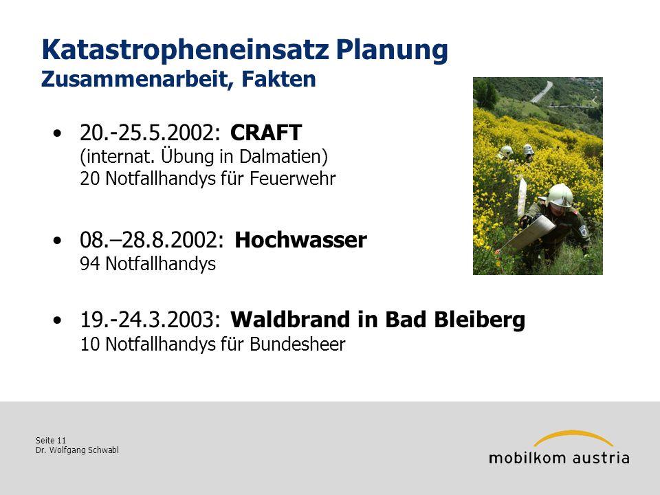 Seite 11 Dr. Wolfgang Schwabl Katastropheneinsatz Planung Zusammenarbeit, Fakten 20.-25.5.2002: CRAFT (internat. Übung in Dalmatien) 20 Notfallhandys