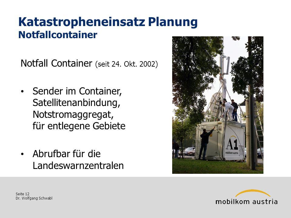 Seite 12 Dr. Wolfgang Schwabl Katastropheneinsatz Planung Notfallcontainer Notfall Container (seit 24. Okt. 2002) Sender im Container, Satellitenanbin