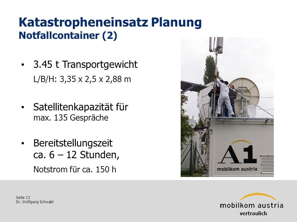 Seite 13 Dr. Wolfgang Schwabl Katastropheneinsatz Planung Notfallcontainer (2) 3.45 t Transportgewicht L/B/H: 3,35 x 2,5 x 2,88 m Satellitenkapazität