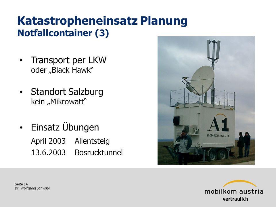Seite 14 Dr. Wolfgang Schwabl Katastropheneinsatz Planung Notfallcontainer (3) Transport per LKW oder Black Hawk Standort Salzburg kein Mikrowatt Eins