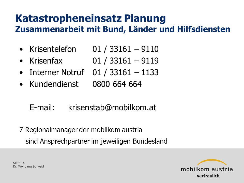 Seite 16 Dr. Wolfgang Schwabl Katastropheneinsatz Planung Zusammenarbeit mit Bund, Länder und Hilfsdiensten Krisentelefon01 / 33161 – 9110 Krisenfax01