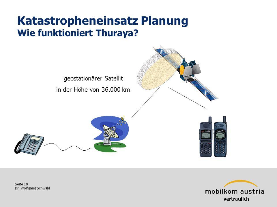 Seite 19 Dr. Wolfgang Schwabl Katastropheneinsatz Planung Wie funktioniert Thuraya? vertraulich geostationärer Satellit in der Höhe von 36.000 km
