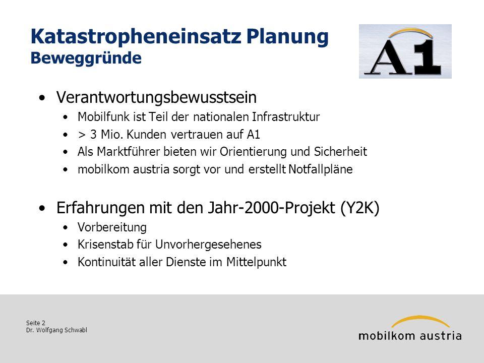 Seite 2 Dr. Wolfgang Schwabl Katastropheneinsatz Planung Beweggründe Verantwortungsbewusstsein Mobilfunk ist Teil der nationalen Infrastruktur > 3 Mio