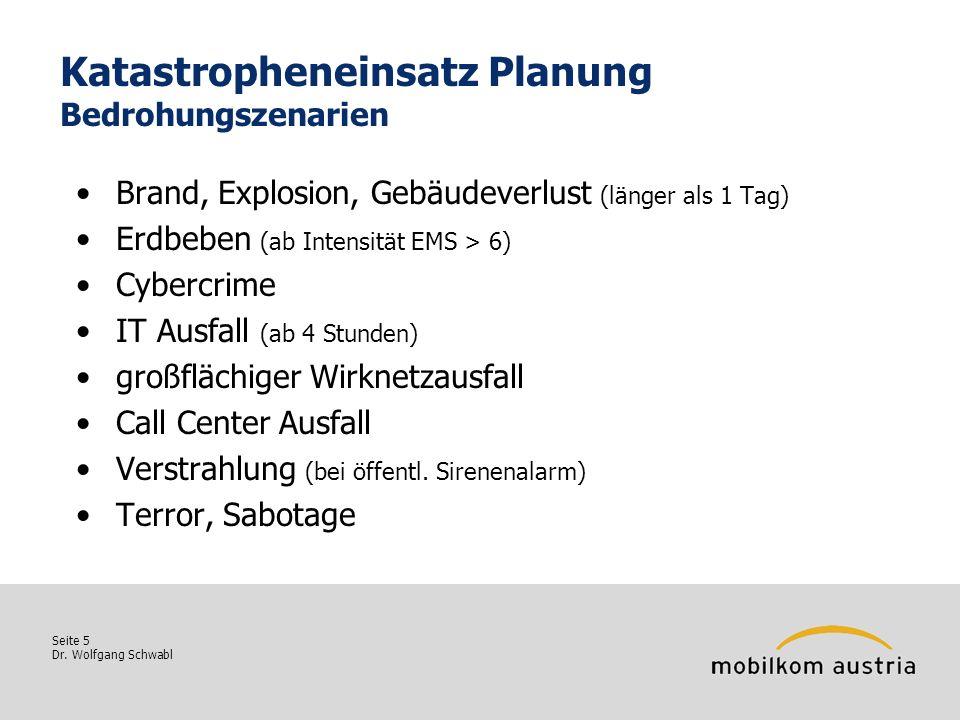 Seite 5 Dr. Wolfgang Schwabl Katastropheneinsatz Planung Bedrohungszenarien Brand, Explosion, Gebäudeverlust (länger als 1 Tag) Erdbeben (ab Intensitä