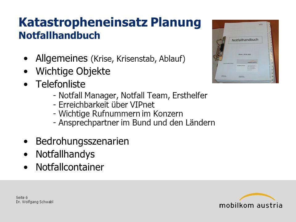 Seite 6 Dr. Wolfgang Schwabl Katastropheneinsatz Planung Notfallhandbuch Allgemeines (Krise, Krisenstab, Ablauf) Wichtige Objekte Telefonliste - Notfa