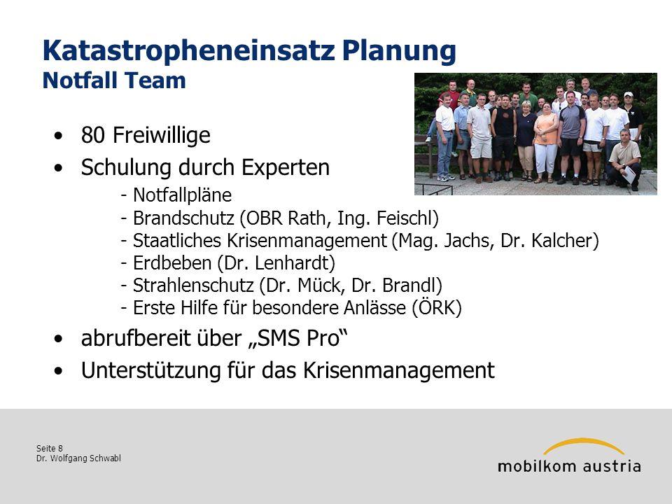 Seite 8 Dr. Wolfgang Schwabl Katastropheneinsatz Planung Notfall Team 80 Freiwillige Schulung durch Experten - Notfallpläne - Brandschutz (OBR Rath, I