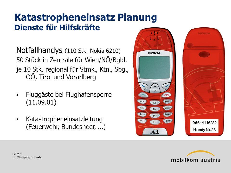 Seite 9 Dr. Wolfgang Schwabl Katastropheneinsatz Planung Dienste für Hilfskräfte Notfallhandys (110 Stk. Nokia 6210) 50 Stück in Zentrale für Wien/NÖ/