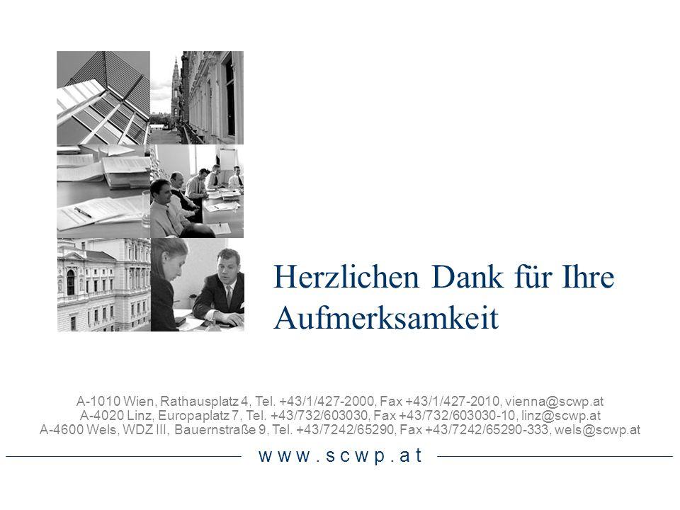 Herzlichen Dank für Ihre Aufmerksamkeit A-1010 Wien, Rathausplatz 4, Tel. +43/1/427-2000, Fax +43/1/427-2010, vienna@scwp.at A-4020 Linz, Europaplatz