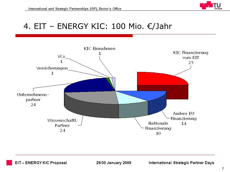 International and Strategic Partnerships (ISP), Rectors Office 7 29/30 January 2009International Strategic Partner Days EIT – ENERGY KIC Proposal 4. E