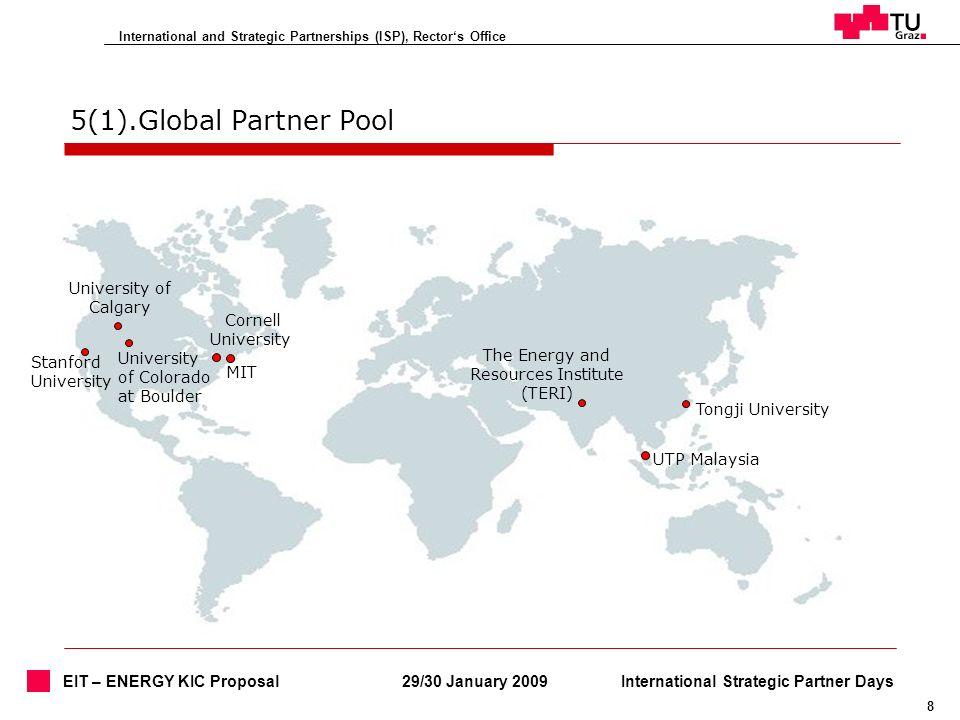International and Strategic Partnerships (ISP), Rectors Office 8 29/30 January 2009International Strategic Partner Days EIT – ENERGY KIC Proposal 5(1)