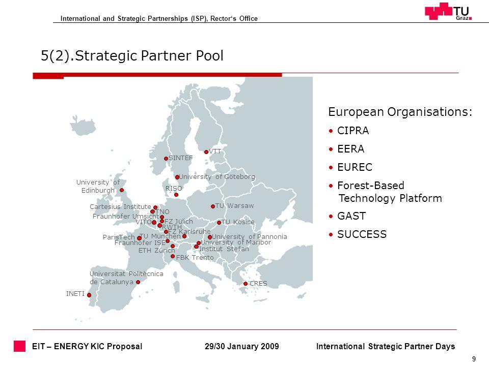International and Strategic Partnerships (ISP), Rectors Office 9 29/30 January 2009International Strategic Partner Days EIT – ENERGY KIC Proposal 5(2)