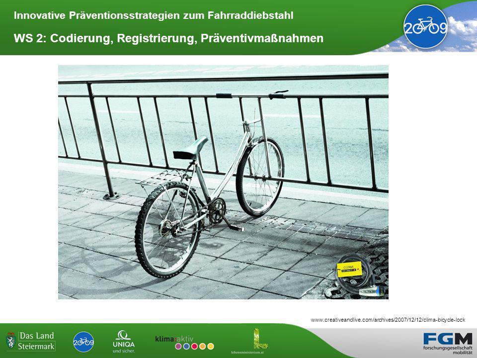 Innovative Präventionsstrategien zum Fahrraddiebstahl WS 2: Codierung, Registrierung, Präventivmaßnahmen www.creativeandlive.com/archives/2007/12/12/clima-bicycle-lock