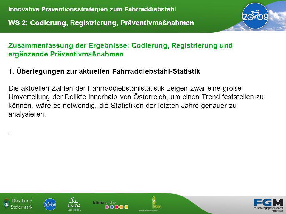 Innovative Präventionsstrategien zum Fahrraddiebstahl WS 2: Codierung, Registrierung, Präventivmaßnahmen Zusammenfassung der Ergebnisse: Codierung, Registrierung und ergänzende Präventivmaßnahmen 1.