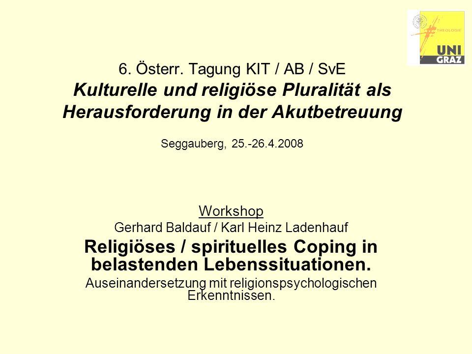 23.04.2008Ladenhauf - Religiöses Coping - KIT200812 Der Bewertungsprozess Primäre Bewertung (primary appraisal): Einschätzung der Situation hinsichtlich ihrer subjektiven Bedeutsamkeit.