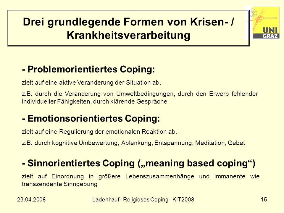 23.04.2008Ladenhauf - Religiöses Coping - KIT200815 Drei grundlegende Formen von Krisen- / Krankheitsverarbeitung - Problemorientiertes Coping: zielt auf eine aktive Veränderung der Situation ab, z.B.