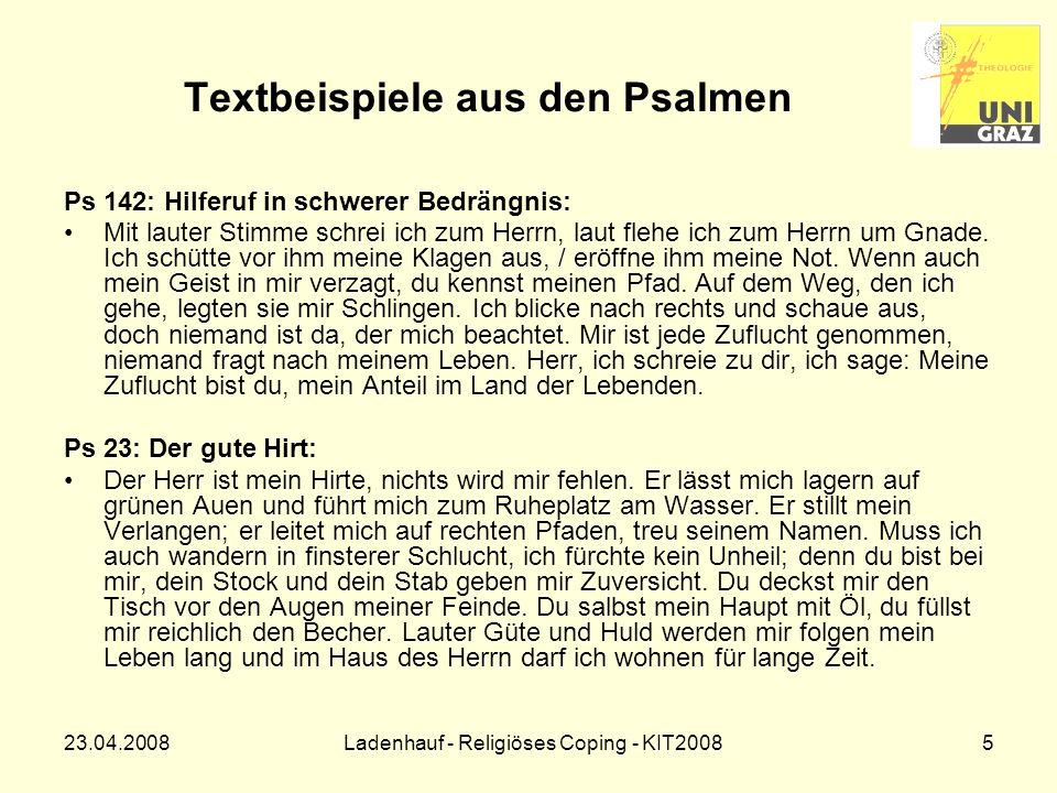 23.04.2008Ladenhauf - Religiöses Coping - KIT20086 Theorie der Belastungsverarbeitung Erklärungsansatz: –Transaktionales Stressmodell von R.