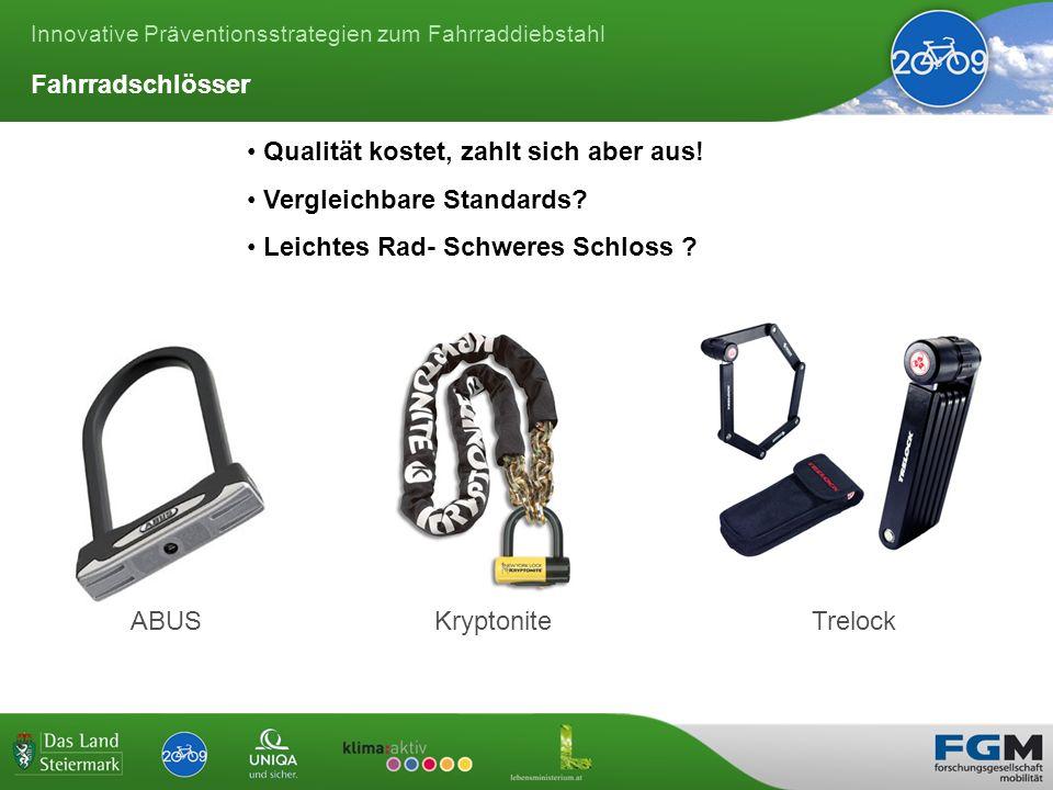 Innovative Präventionsstrategien zum Fahrraddiebstahl ABUSKryptoniteTrelock Qualität kostet, zahlt sich aber aus.