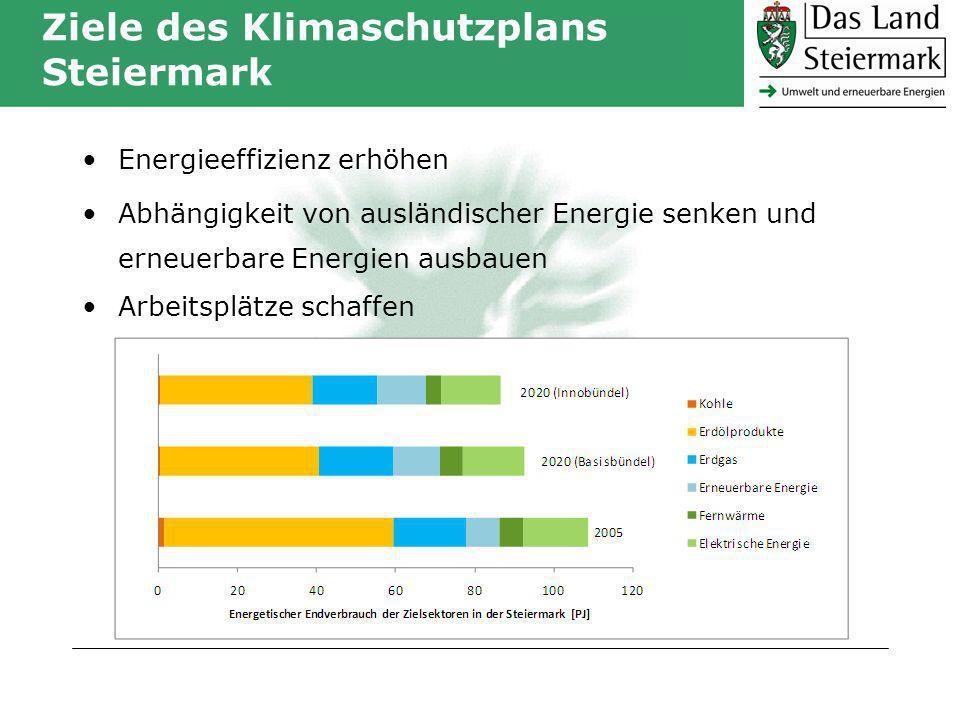 Ziele des Klimaschutzplans Steiermark Energieeffizienz erhöhen Abhängigkeit von ausländischer Energie senken und erneuerbare Energien ausbauen Arbeitsplätze schaffen