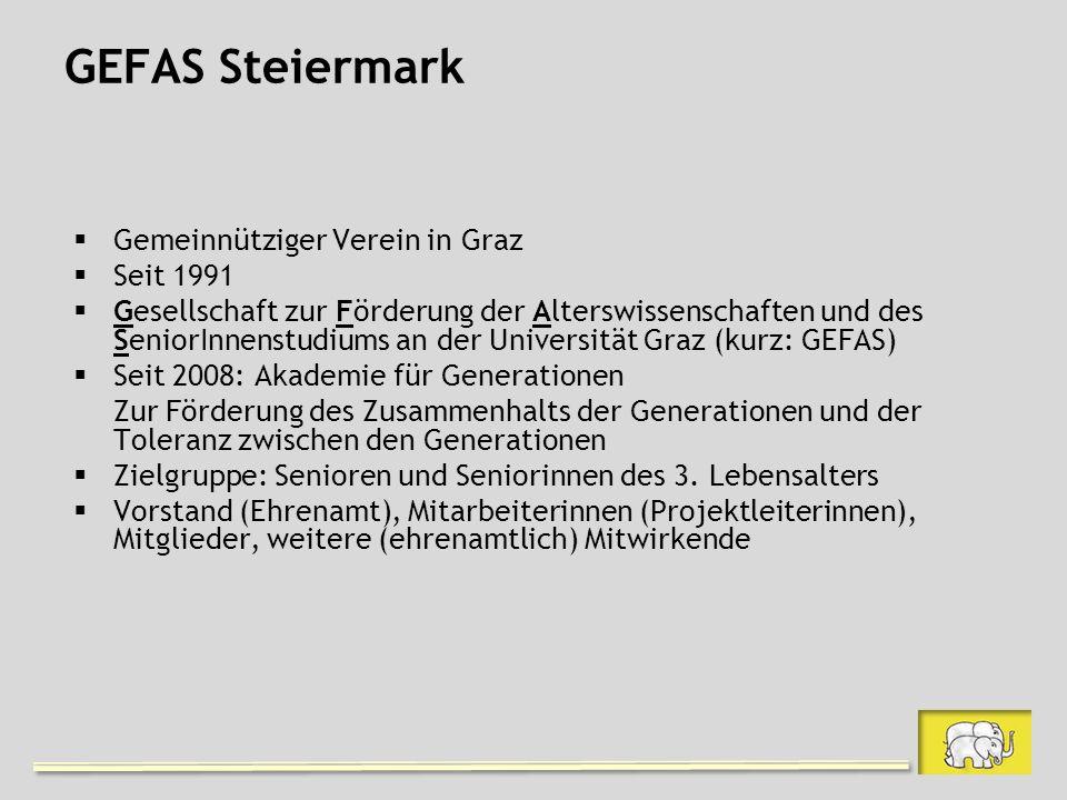 GEFAS Steiermark Gemeinnütziger Verein in Graz Seit 1991 Gesellschaft zur Förderung der Alterswissenschaften und des SeniorInnenstudiums an der Universität Graz (kurz: GEFAS) Seit 2008: Akademie für Generationen Zur Förderung des Zusammenhalts der Generationen und der Toleranz zwischen den Generationen Zielgruppe: Senioren und Seniorinnen des 3.
