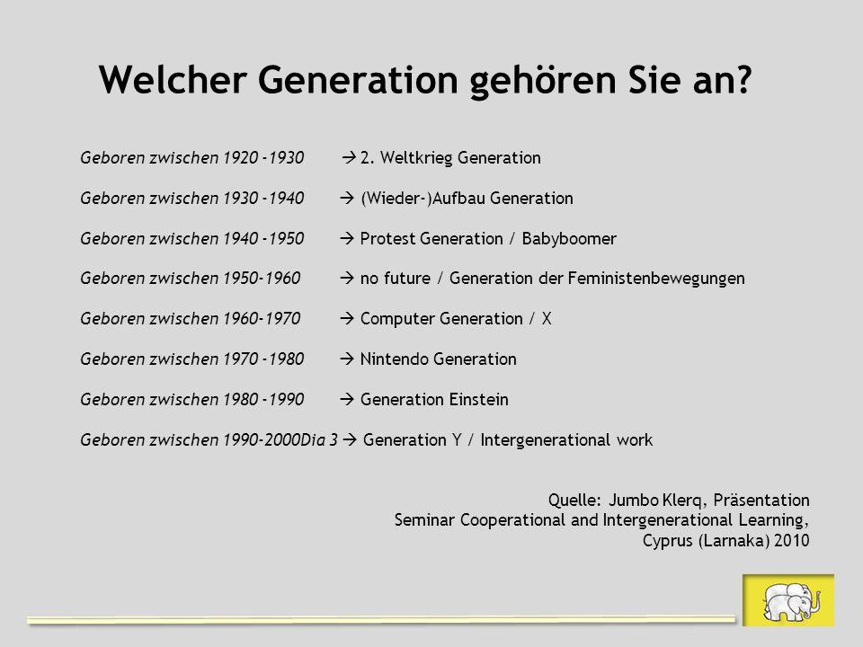 Welcher Generation gehören Sie an? Geboren zwischen 1920 -1930 2. Weltkrieg Generation Geboren zwischen 1930 -1940 (Wieder-)Aufbau Generation Geboren