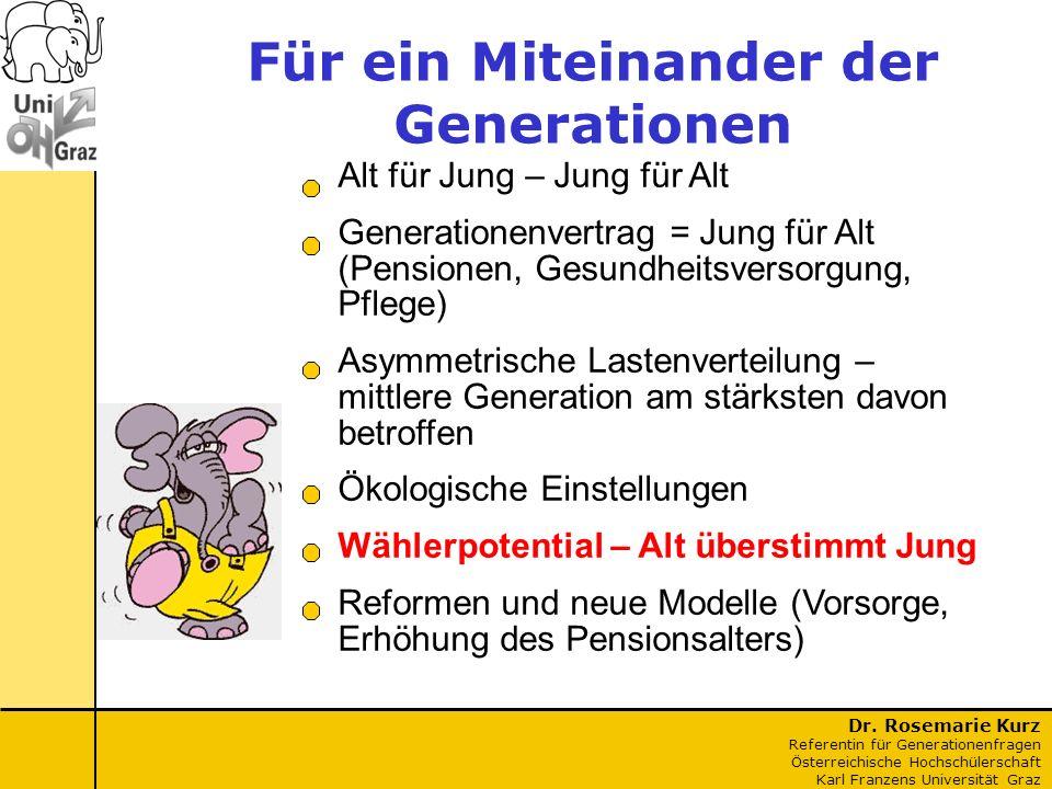 Dr. Rosemarie Kurz Referentin für Generationenfragen Österreichische Hochschülerschaft Karl Franzens Universität Graz Für ein Miteinander der Generati