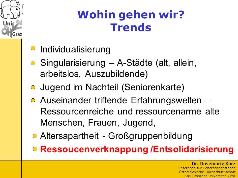 Dr. Rosemarie Kurz Referentin für Generationenfragen Österreichische Hochschülerschaft Karl Franzens Universität Graz Wohin gehen wir? Trends Individu