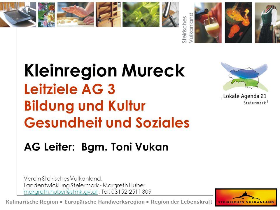 Kulinarische Region Europäische Handwerksregion Region der Lebenskraft Kleinregion Mureck Leitziele AG 3 Bildung und Kultur Gesundheit und Soziales AG