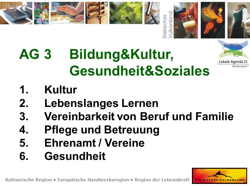 Kulinarische Region Europäische Handwerksregion Region der Lebenskraft AG 3Bildung&Kultur, Gesundheit&Soziales 1. Kultur 2.Lebenslanges Lernen 3.Verei