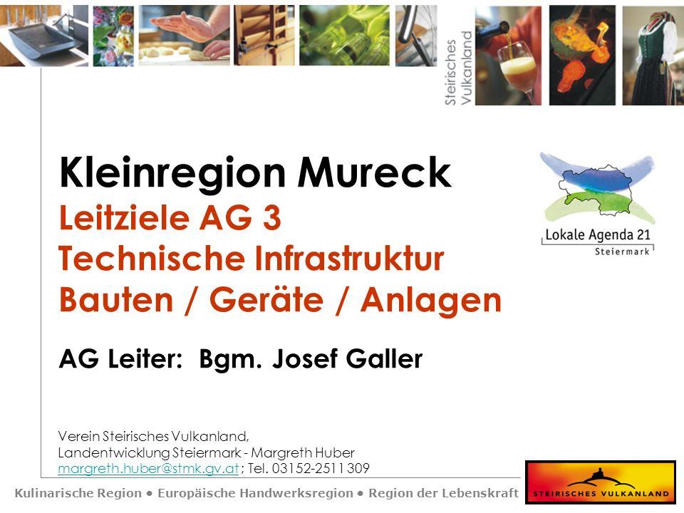 Kulinarische Region Europäische Handwerksregion Region der Lebenskraft Kleinregion Mureck Leitziele AG 3 Technische Infrastruktur Bauten / Geräte / An