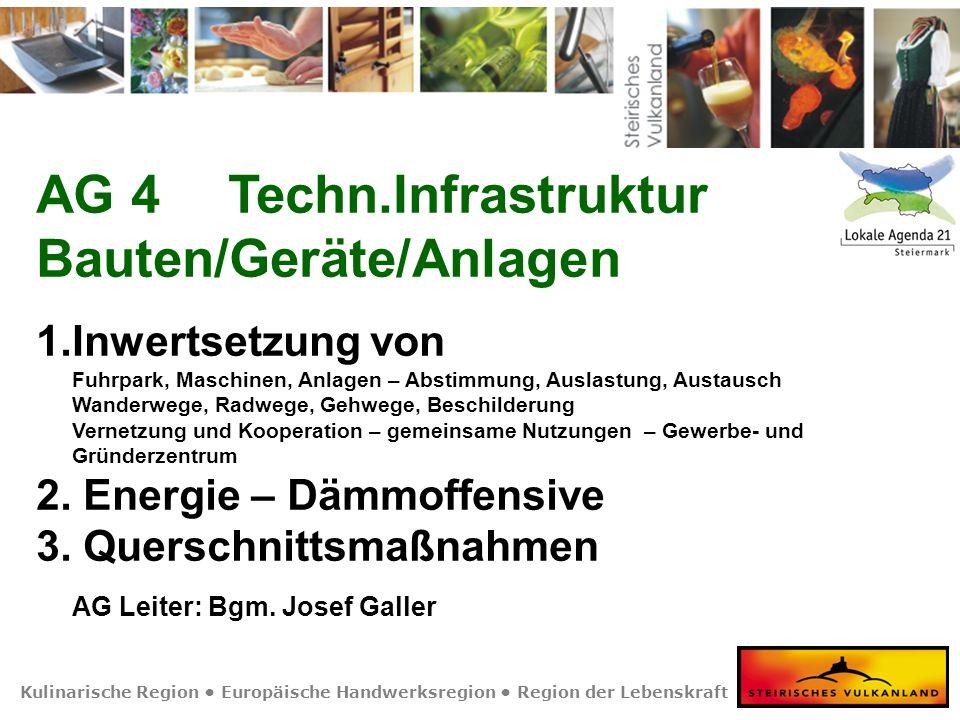 Kulinarische Region Europäische Handwerksregion Region der Lebenskraft AG 4Techn.Infrastruktur Bauten/Geräte/Anlagen 1.Inwertsetzung von Fuhrpark, Mas