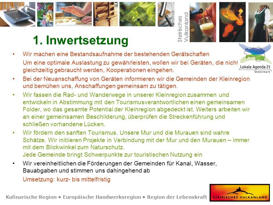 Kulinarische Region Europäische Handwerksregion Region der Lebenskraft 1. Inwertsetzung Wir machen eine Bestandsaufnahme der bestehenden Gerätschaften