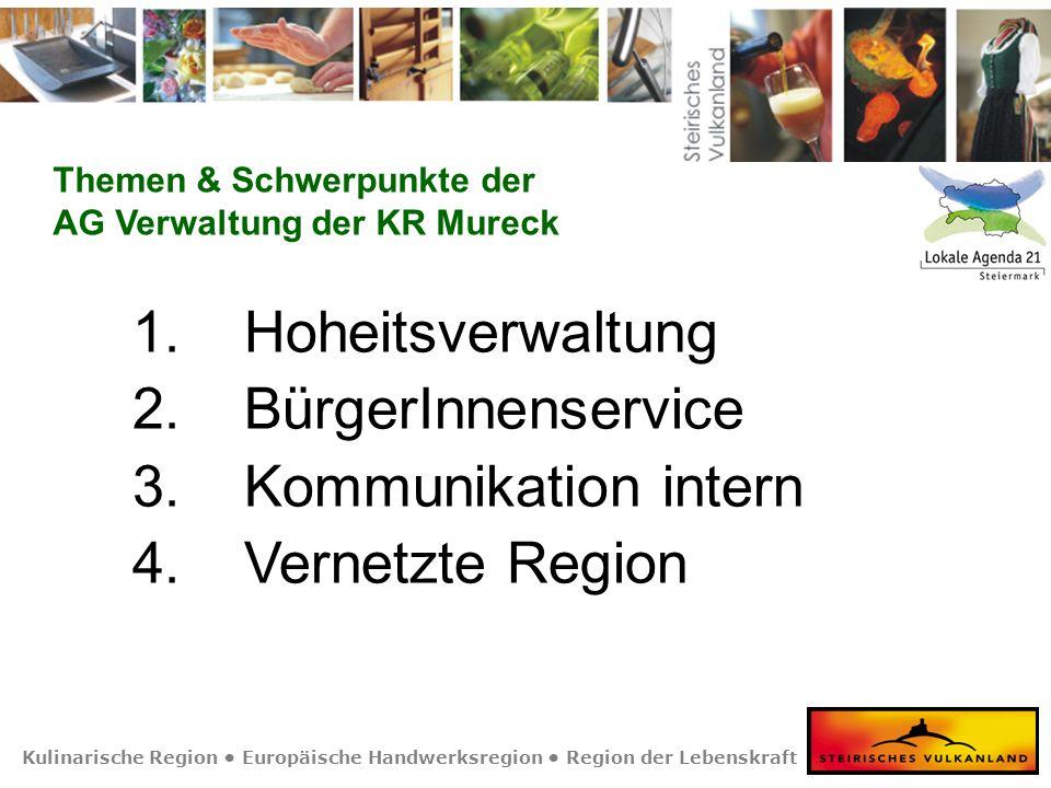 Kulinarische Region Europäische Handwerksregion Region der Lebenskraft 1. Hoheitsverwaltung 2. BürgerInnenservice 3. Kommunikation intern 4. Vernetzte