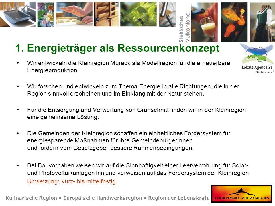 Kulinarische Region Europäische Handwerksregion Region der Lebenskraft 1. Energieträger als Ressourcenkonzept Wir entwickeln die Kleinregion Mureck al