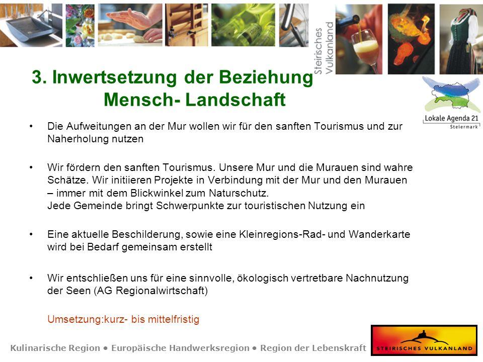 Kulinarische Region Europäische Handwerksregion Region der Lebenskraft 3. Inwertsetzung der Beziehung Mensch- Landschaft Die Aufweitungen an der Mur w