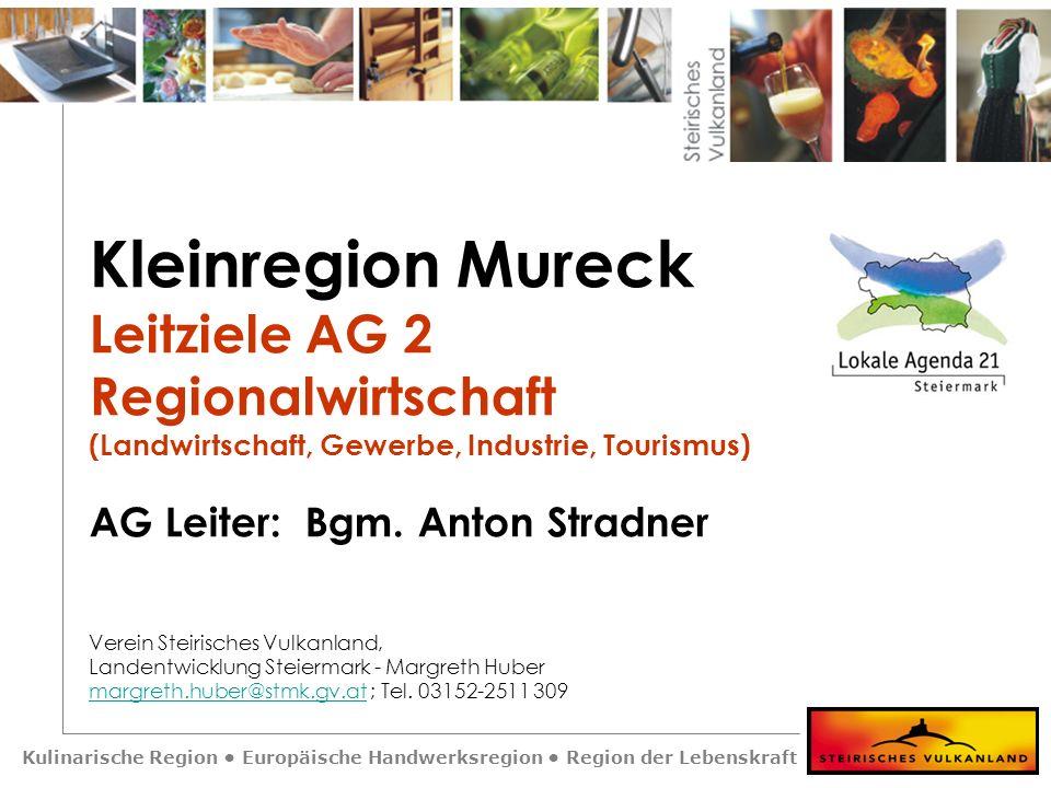 Kulinarische Region Europäische Handwerksregion Region der Lebenskraft Kleinregion Mureck Leitziele AG 2 Regionalwirtschaft (Landwirtschaft, Gewerbe,